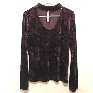 Sanctuary Burgundy Velvet Sasha Choker Shirt